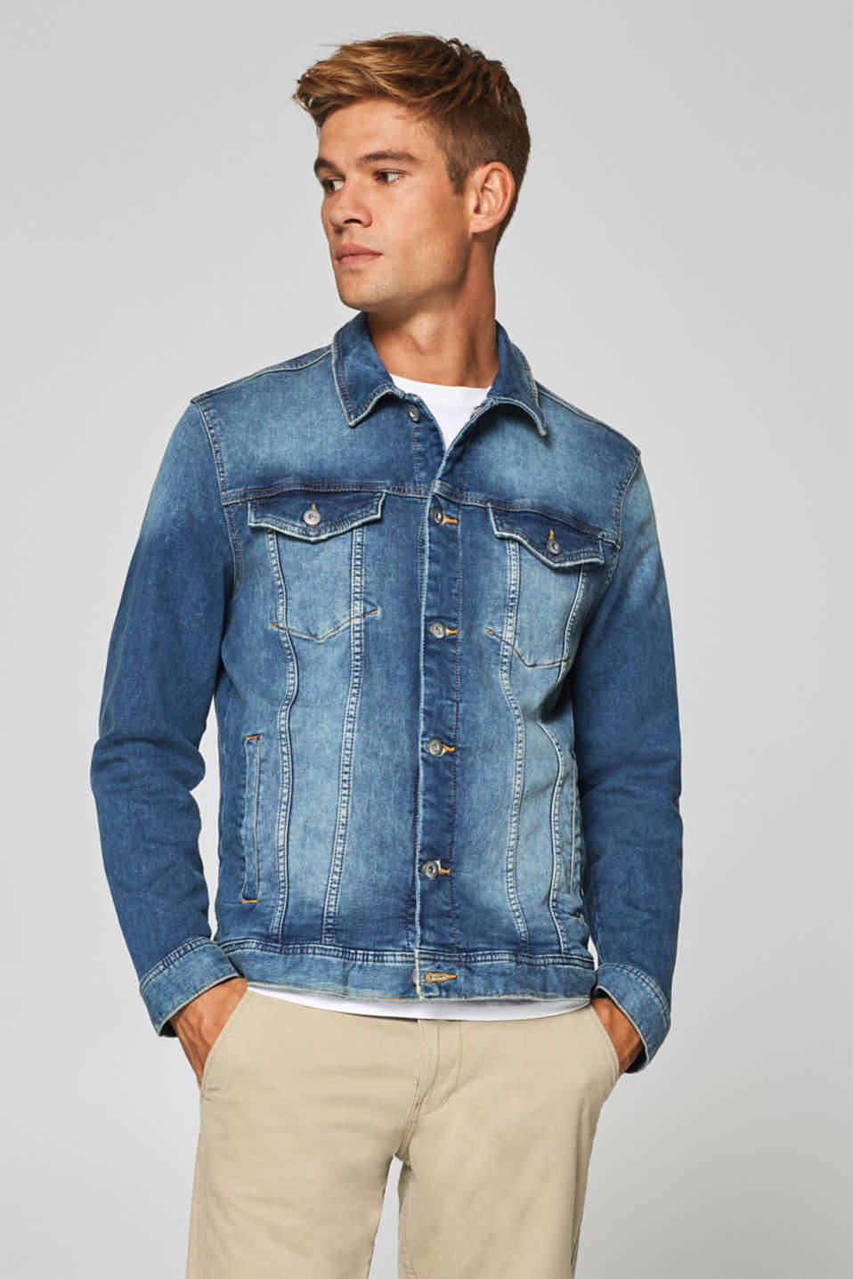 edc - Denim jacket with vintage effects