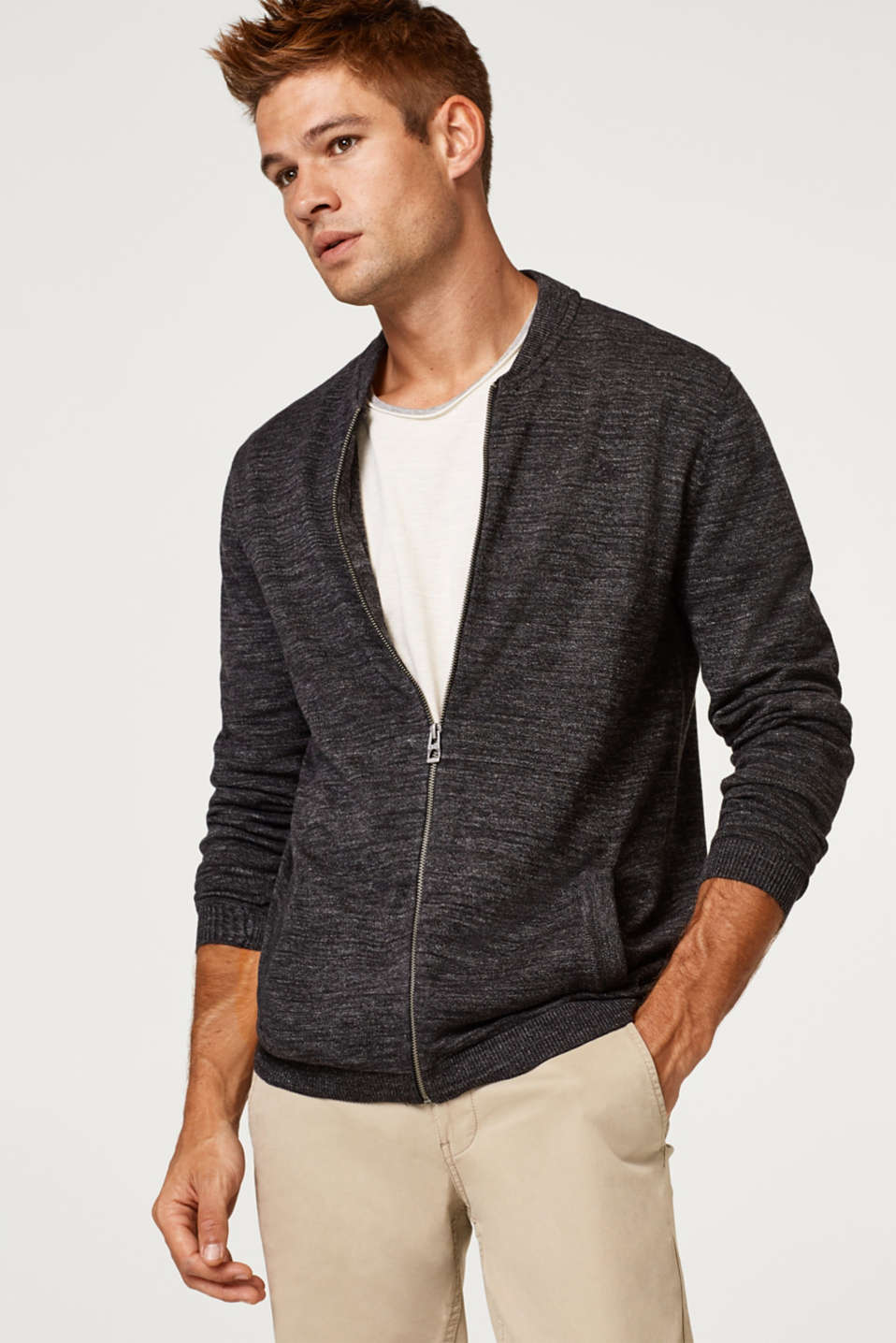 edc - Cardigan with a band collar, 100% cotton