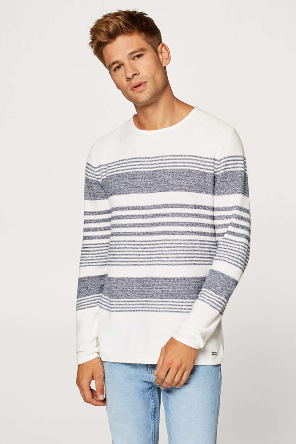 edc - Knitted jumper with stripes, 100% cotton.