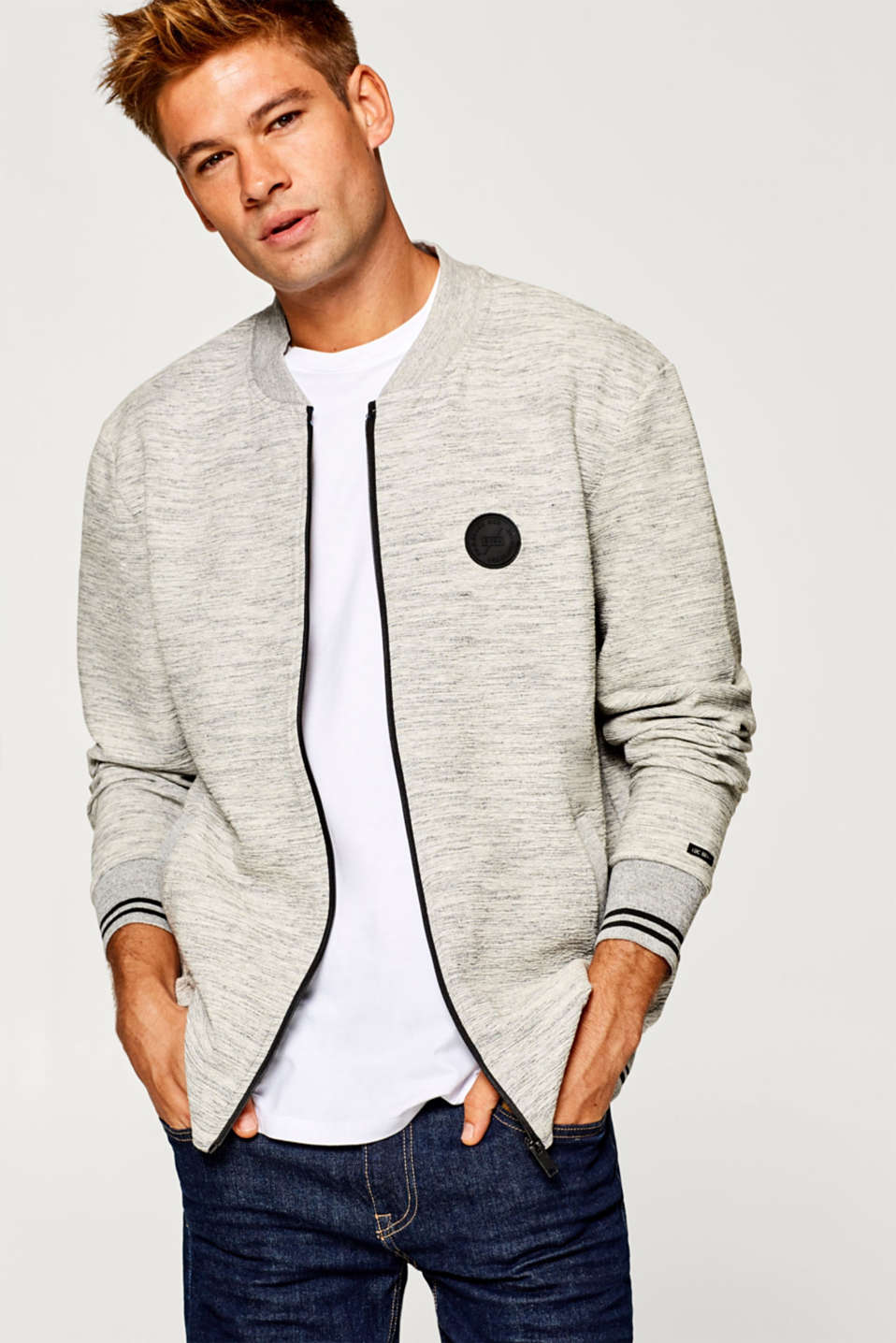 edc - Melange college style cardigan in sweatshirt fabric
