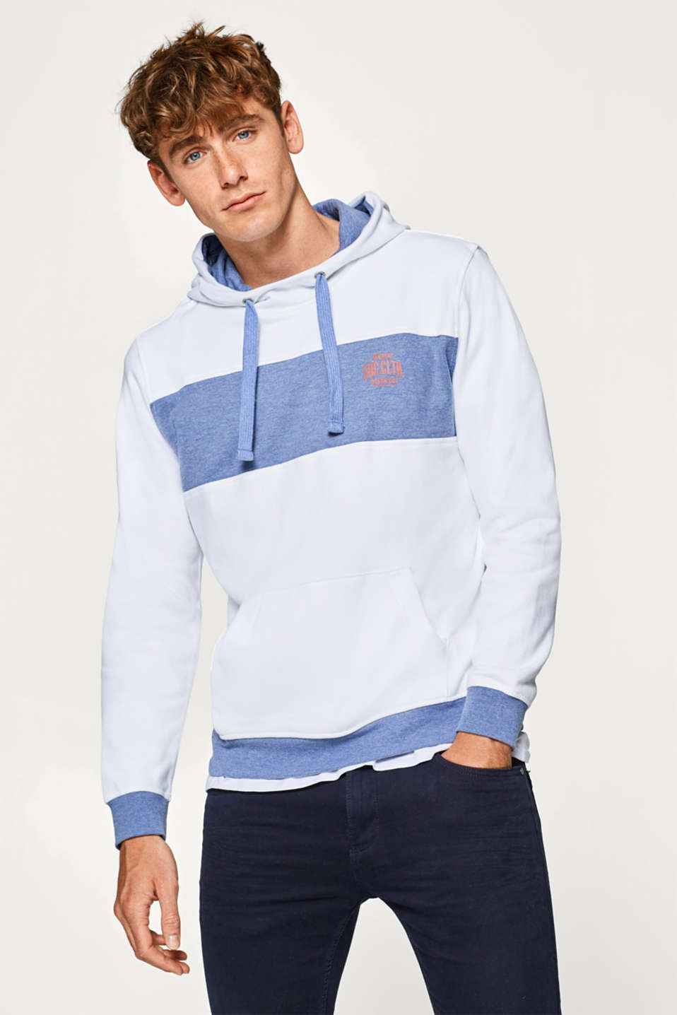 edc - Hoodie with contrasting coloured cuffs