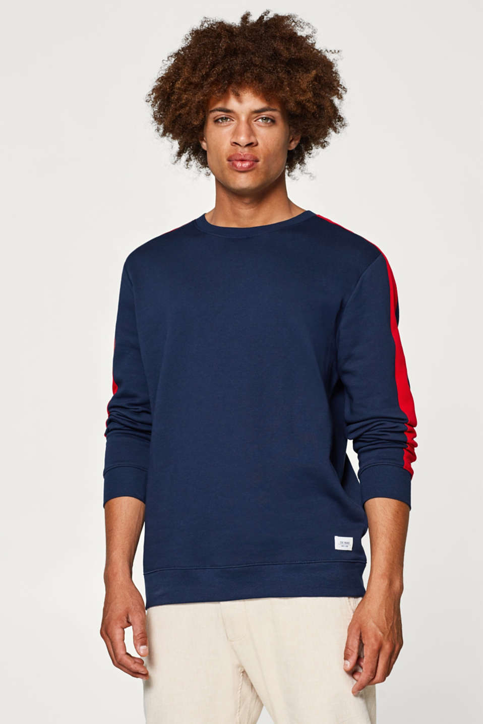 edc - Jumper with contrasting stripes, 100% cotton