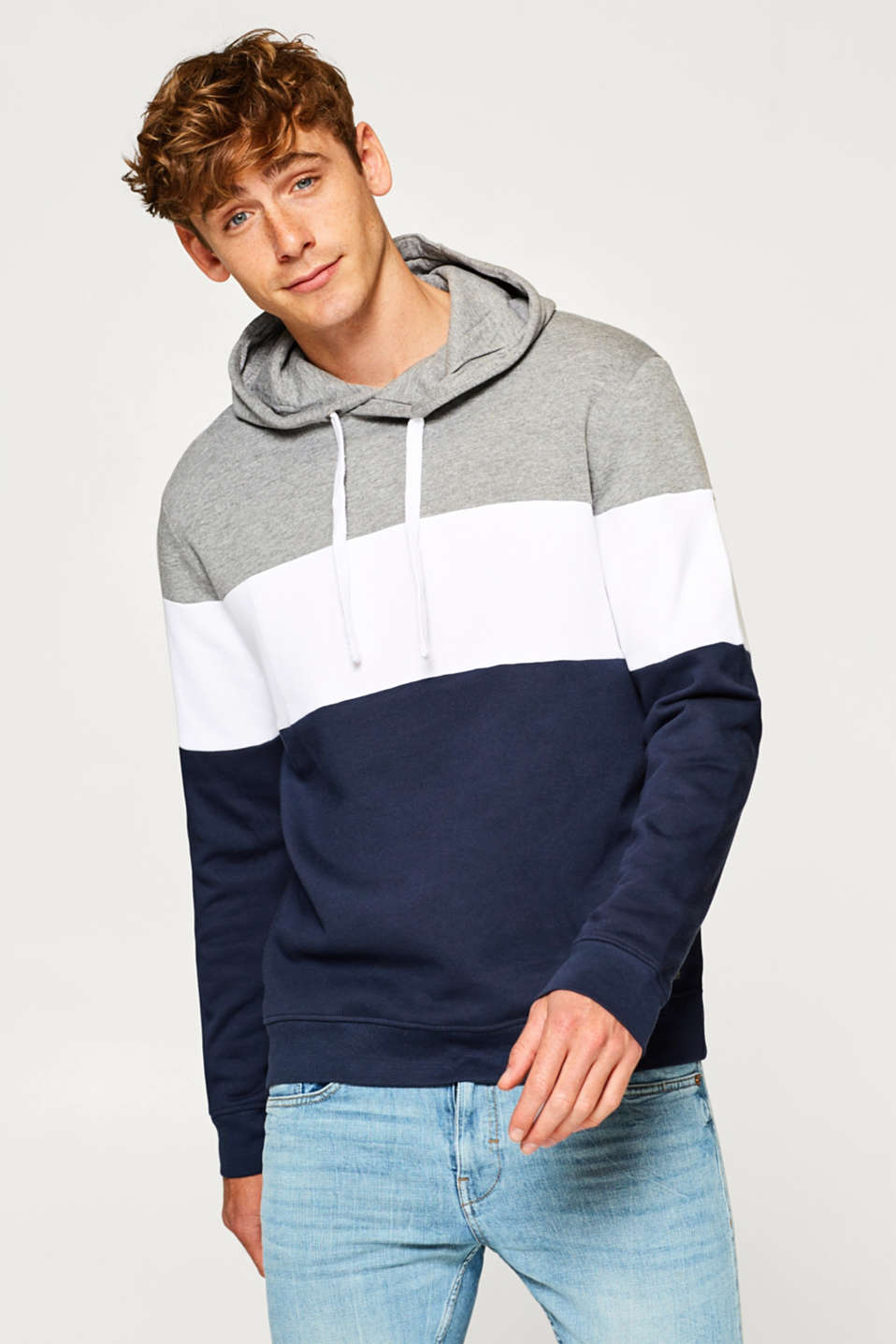 edc - Colour block hoodie in blended cotton