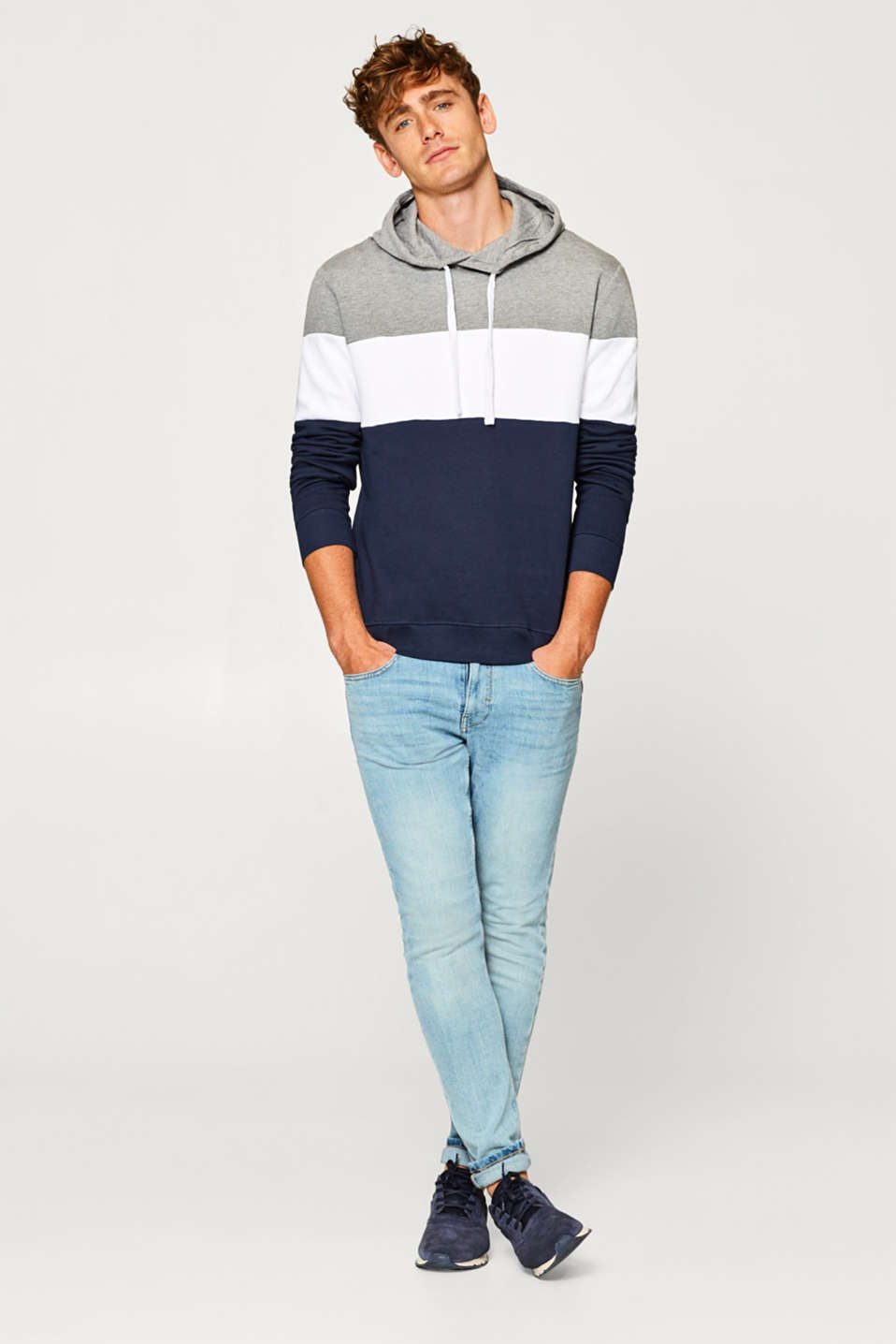 Colour block hoodie in blended cotton