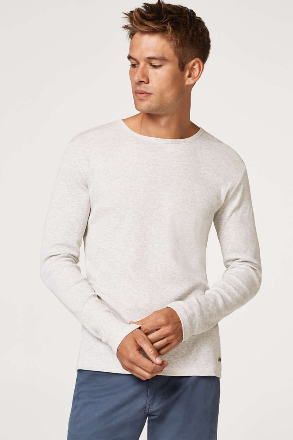 edc - Ribbed long sleeve top in blended cotton