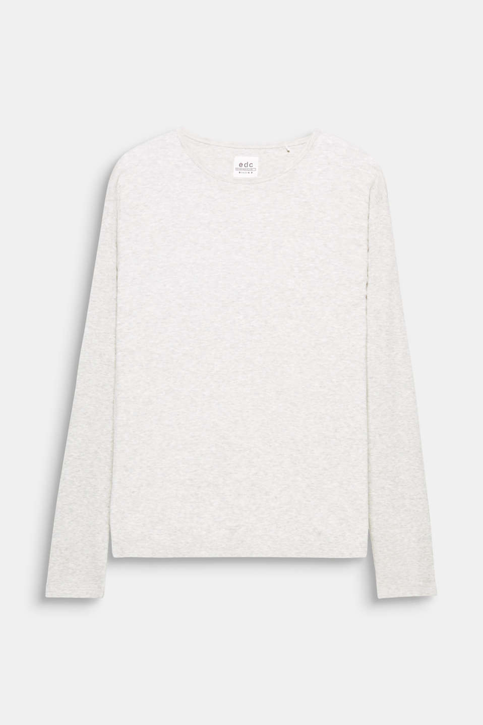 A fashion basic containing premium, environmentally-friendly organic cotton: melange long sleeve top in ribbed jersey.