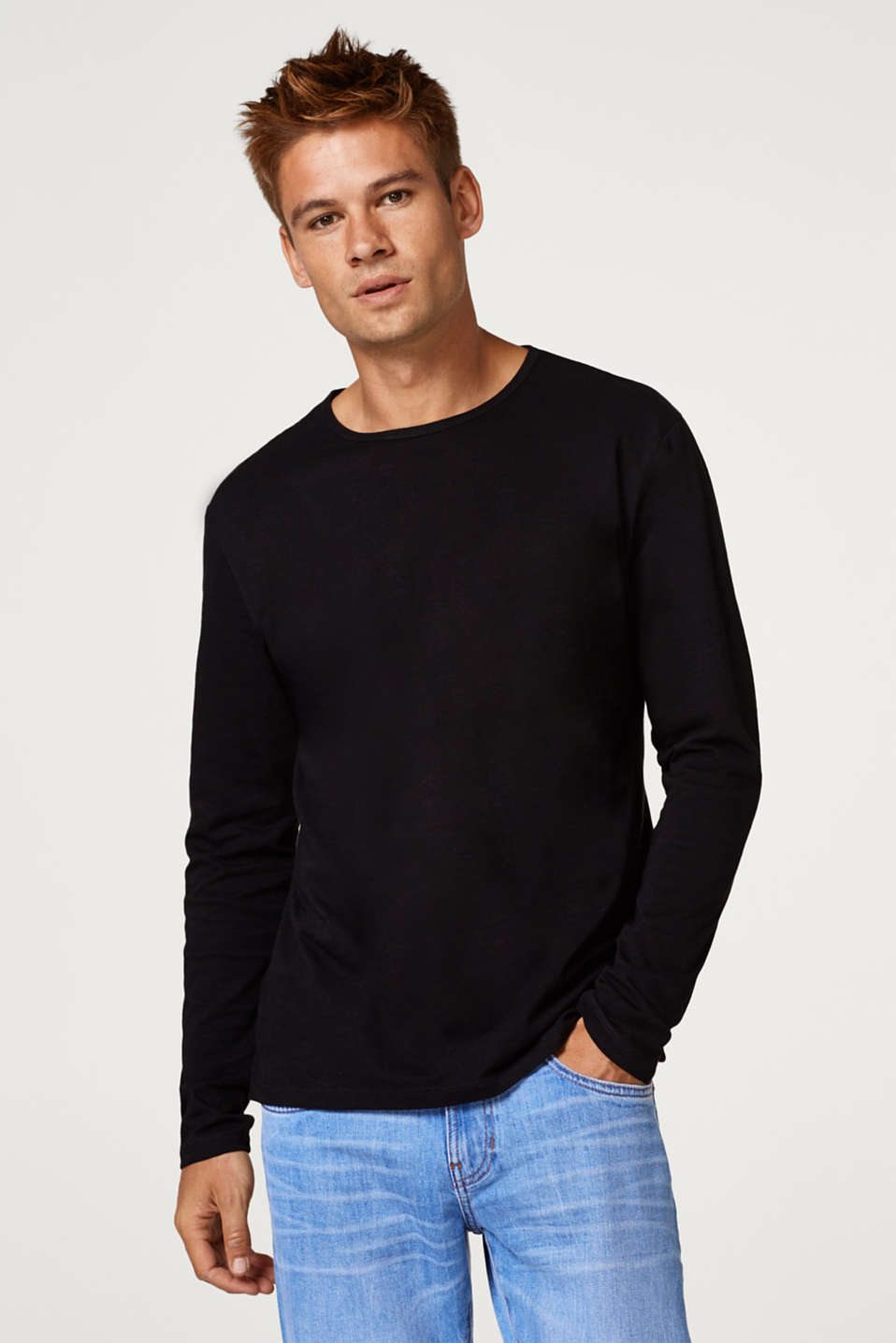 edc - Slub jersey long sleeve top, 100% cotton