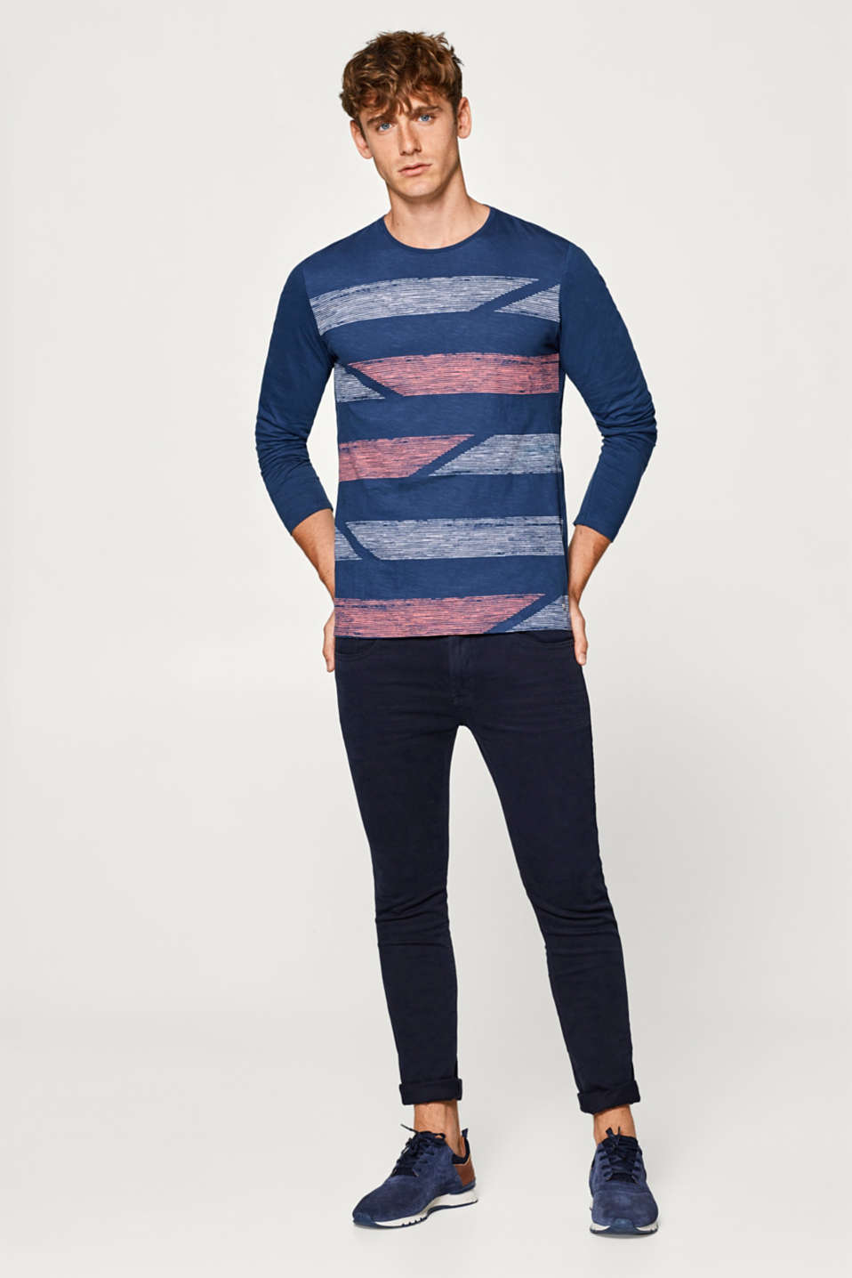 edc - Jersey long sleeve top with a print, 100% cotton