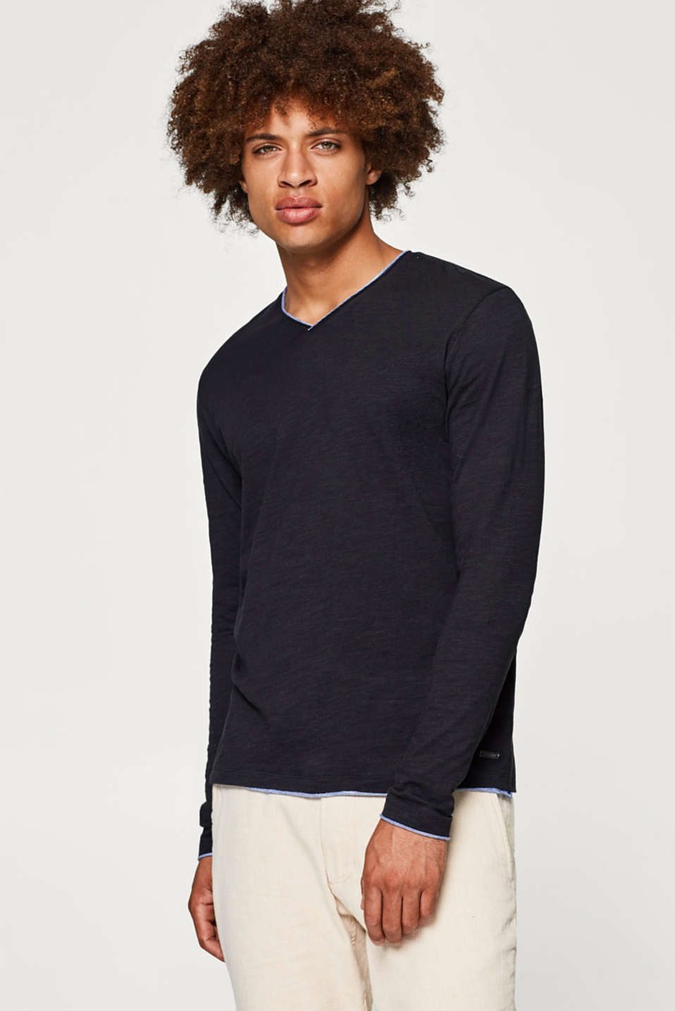 edc - Jersey long sleeve top with a trim, 100% cotton