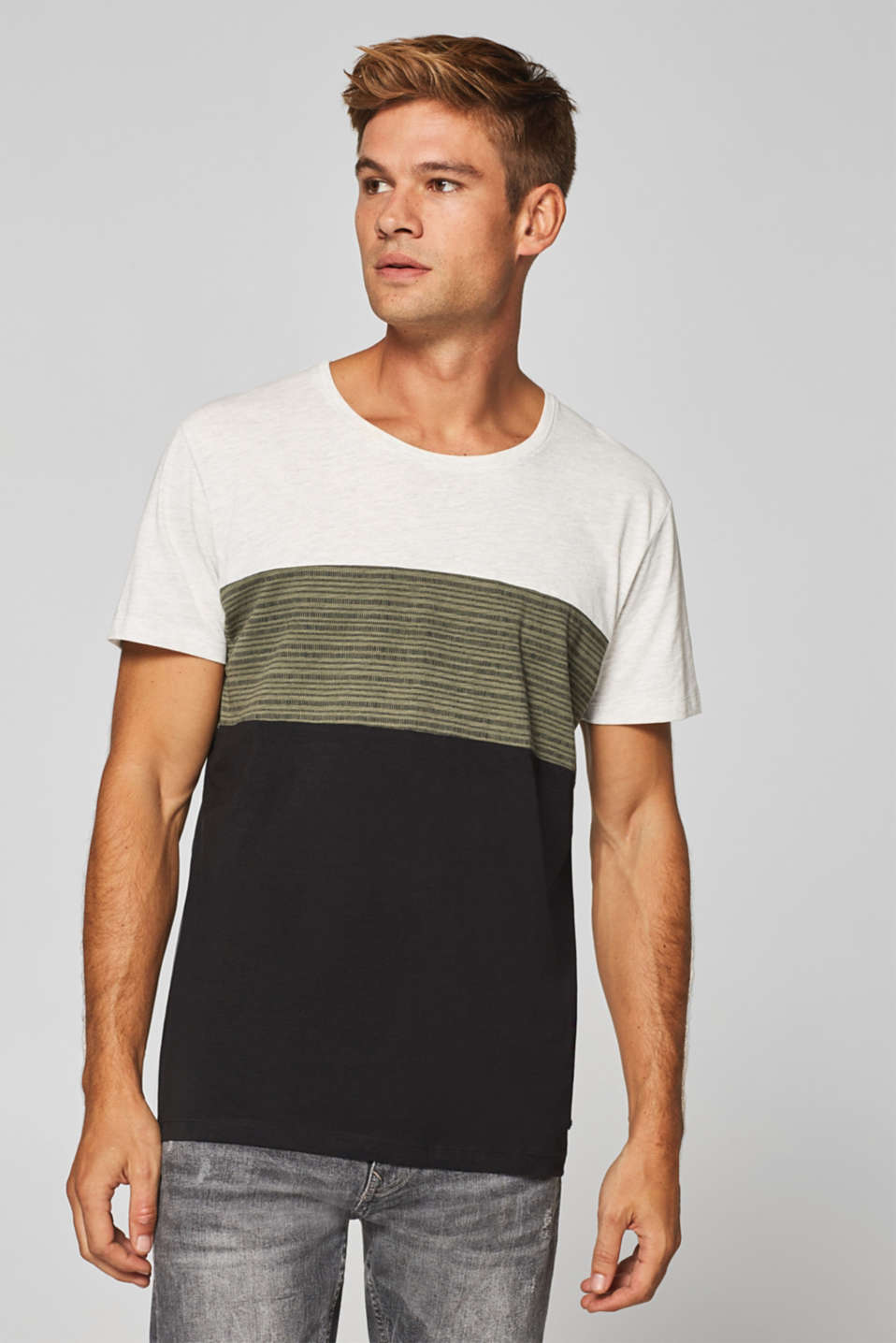 edc - T-shirt with colour block elements, in jersey