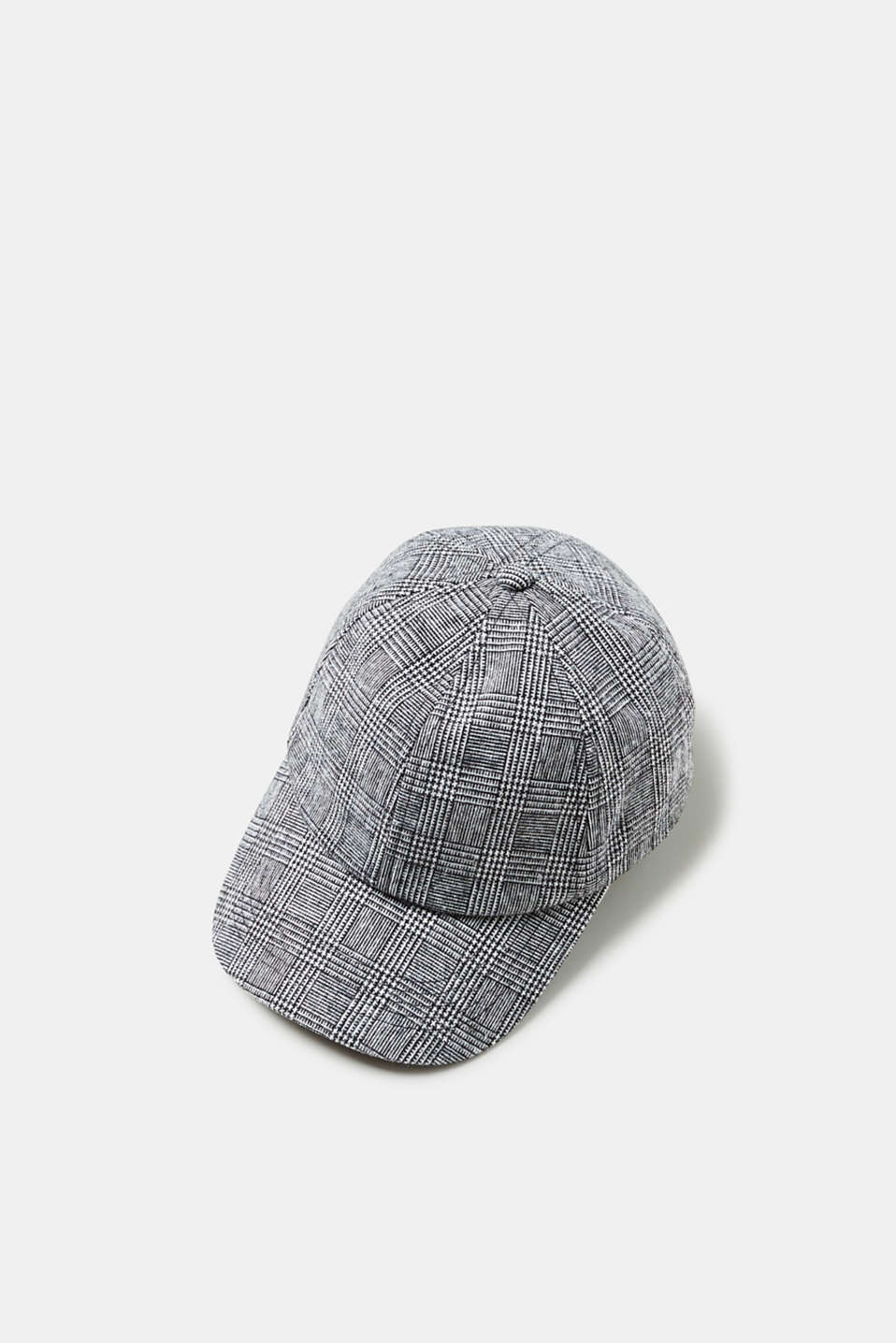 Esprit - Cap with a bow and a glencheck pattern