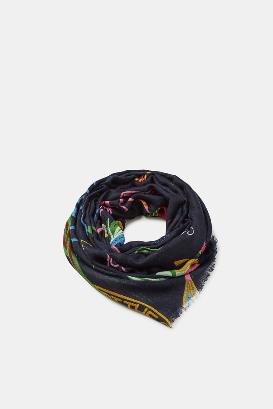 Esprit - Woven scarf with summery prints