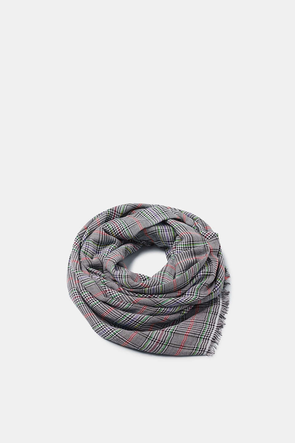Esprit - Glencheck scarf in blended cotton