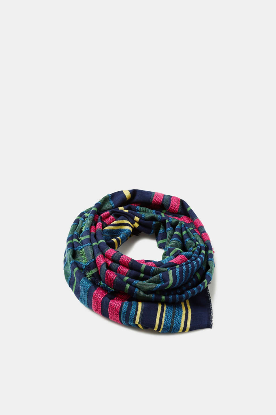 Esprit - Scarf with textured stripes, 100% cotton