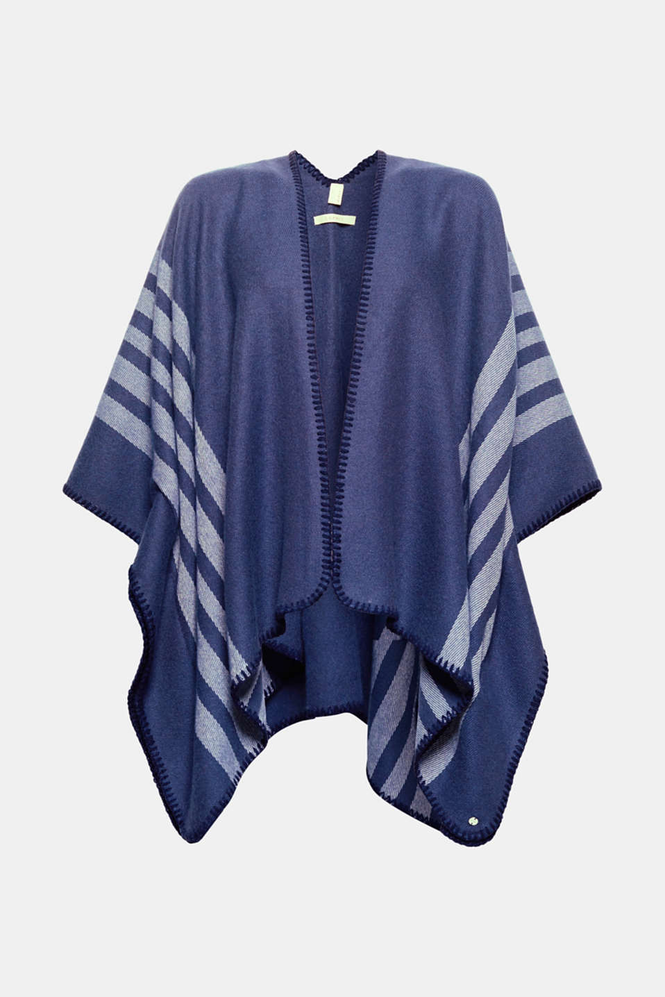 Esprit - Open poncho cardigan with stripes