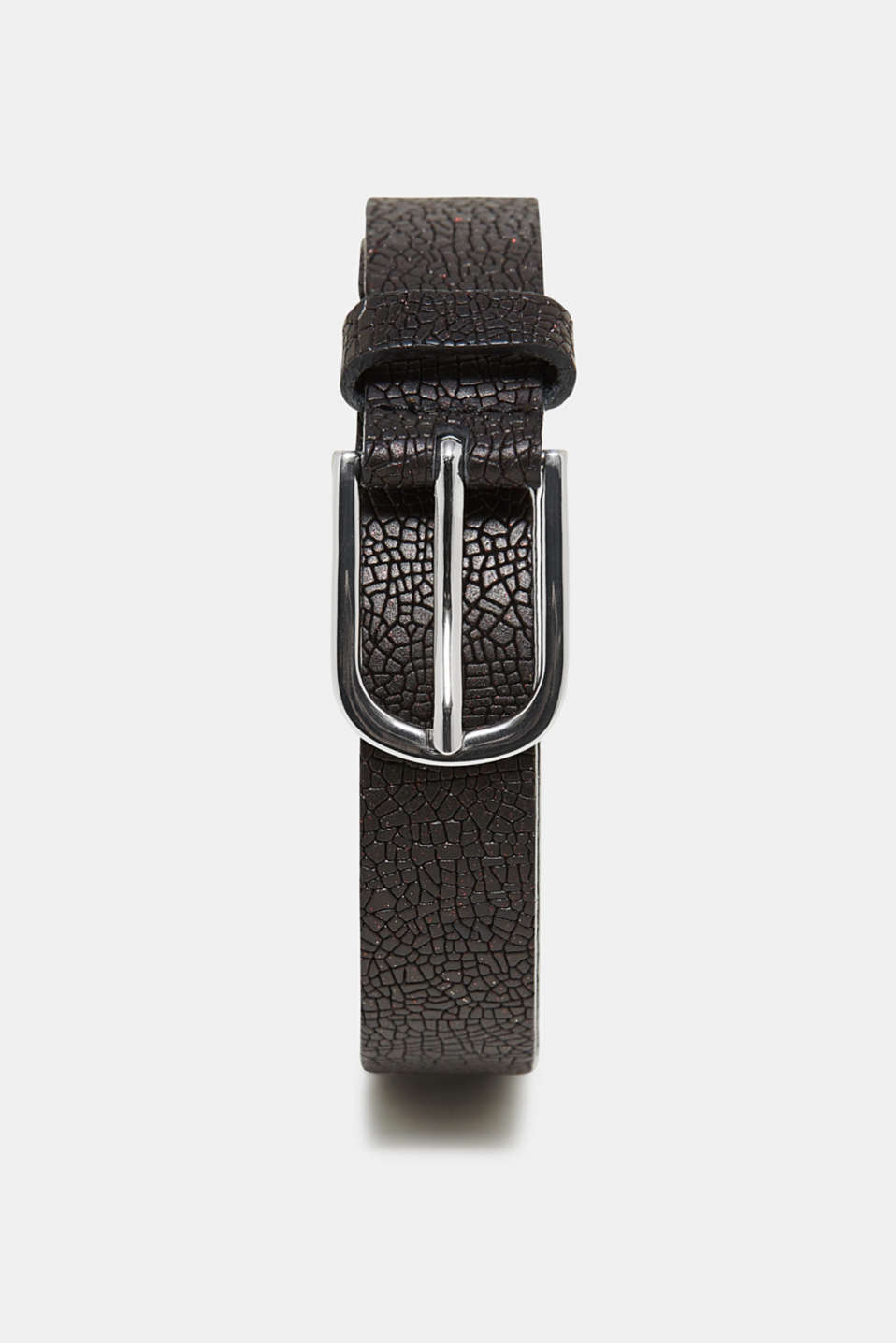 Esprit - Textured leather belt with glitter