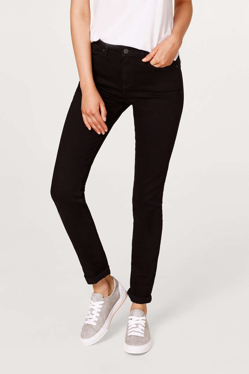 Esprit - Stretch jeans in deep black denim
