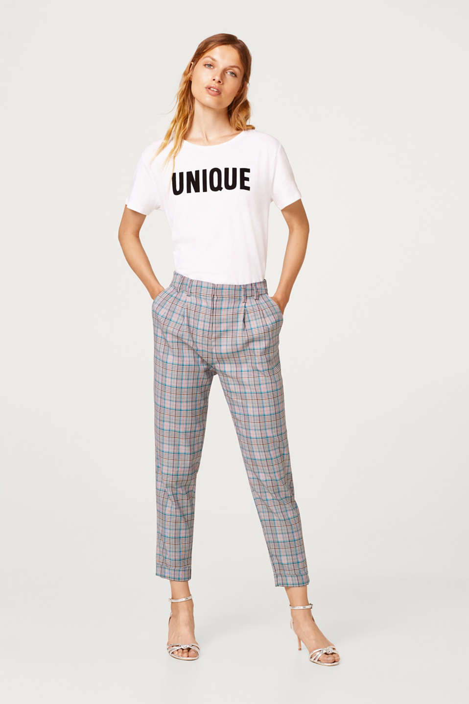 Esprit - Stretch trousers with a Prince of Wales check pattern