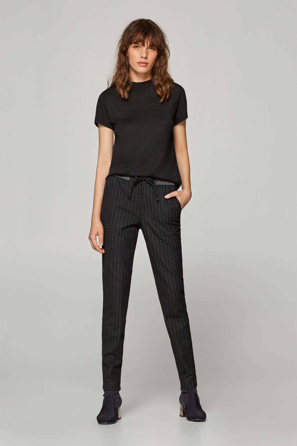 Esprit - Striped, woven trousers in a tracksuit bottom style