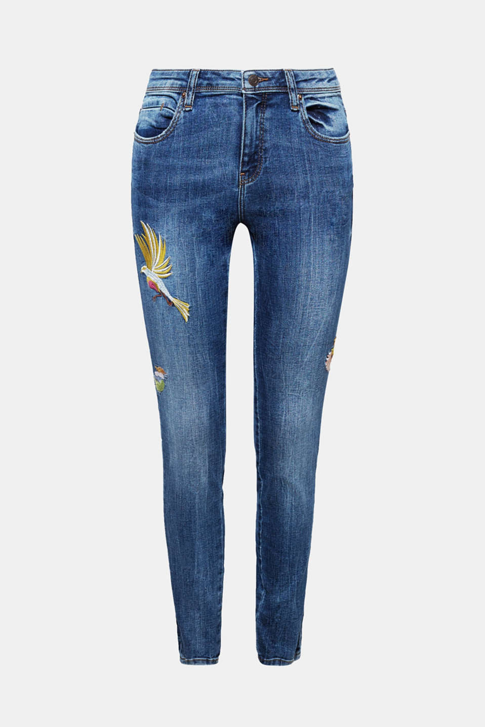 Your favourite jeans with a difference: This pair is made of lightweight denim in a slim fit with the usual added stretch for comfort and elaborate, embroidered bird motifs.