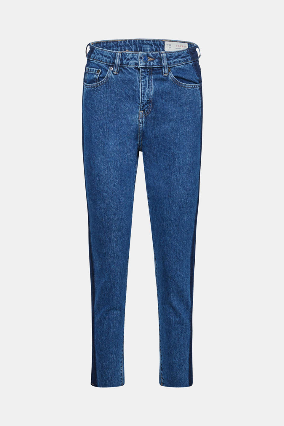 The high-rise waist design and the cropped leg length, enhanced by darker tuxedo stripes on the side, give these jeans in stable denim a trendy silhouette!