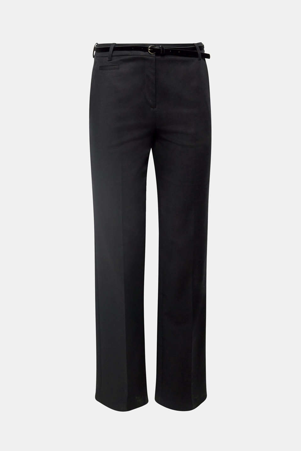 Modern classic with a velvet belt: These timeless stretch cotton trousers with a straight leg and pressed pleats are suitable for business, work or special occasions!