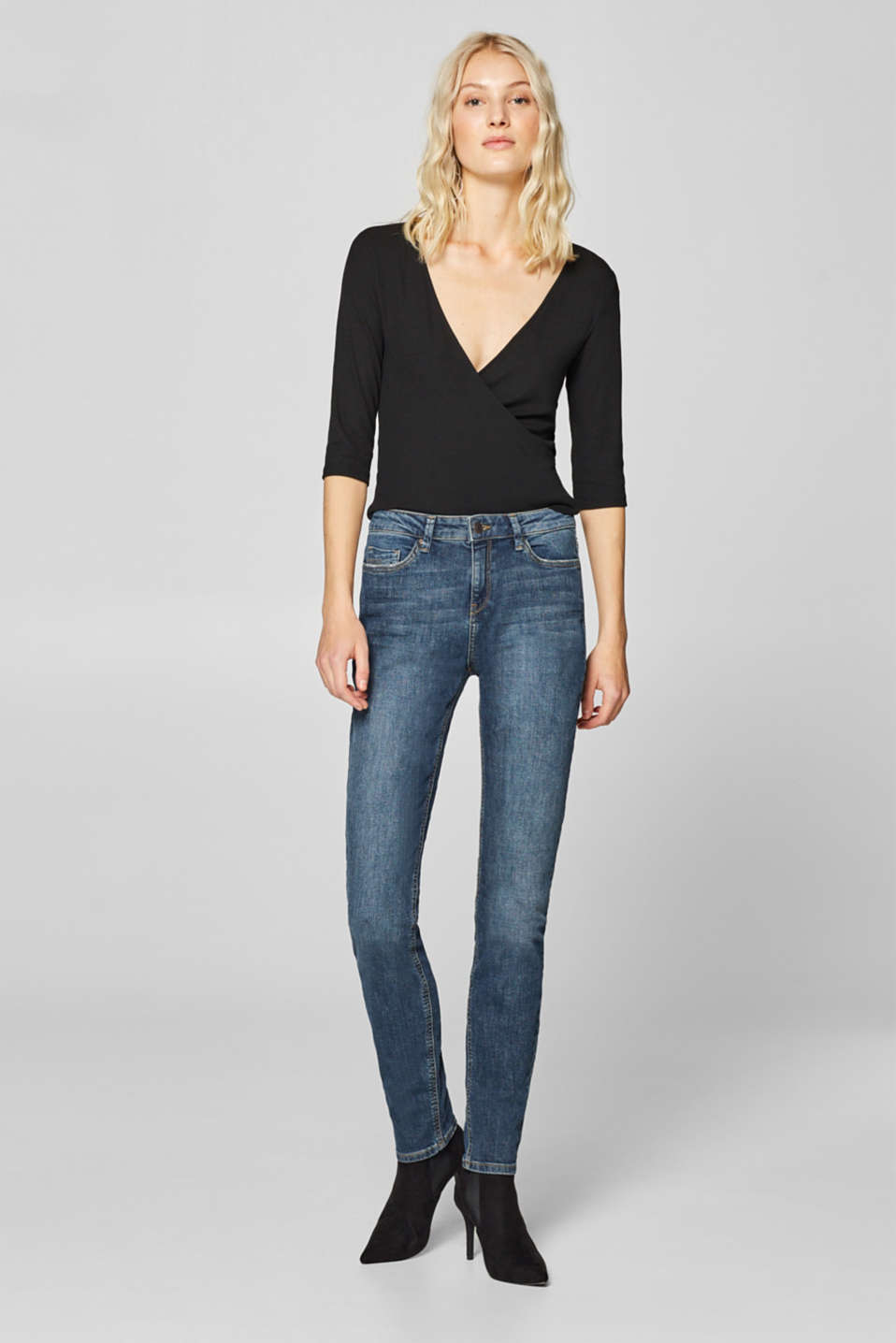 Esprit - Stretch jeans with wrinkled effects