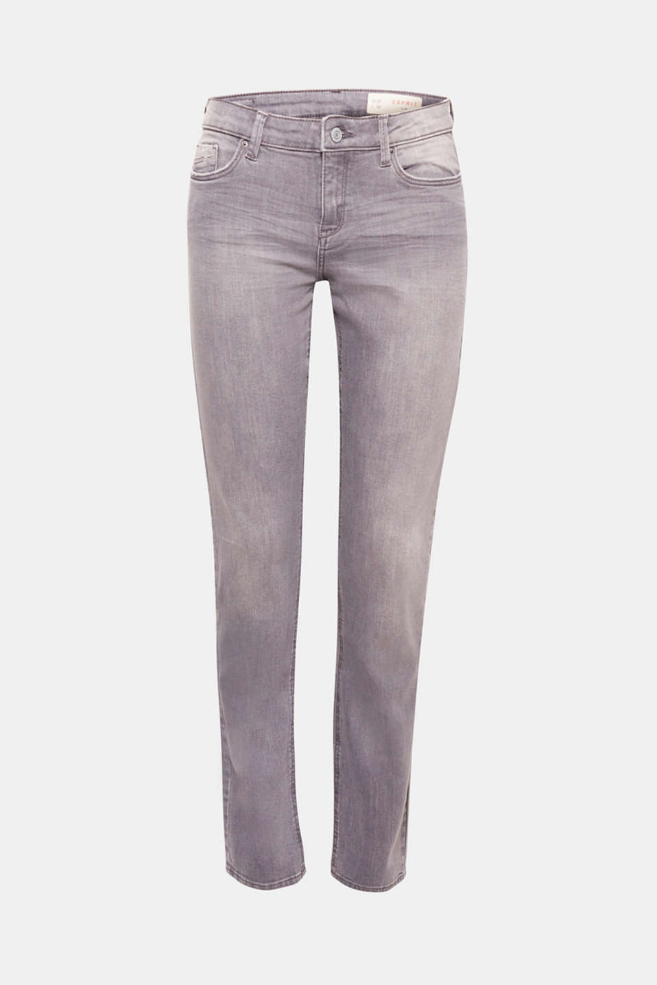 The trendy grey wash featuring faded areas and whiskering gives these sensationally soft jeans made of tracksuit fabric their cool, casual look.