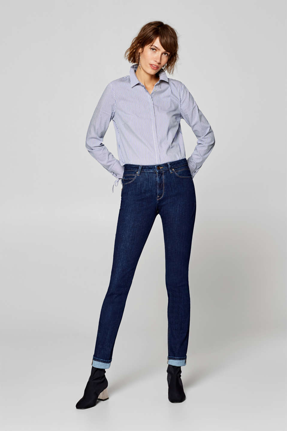 Esprit - Stretchy jeans with a high-rise waist