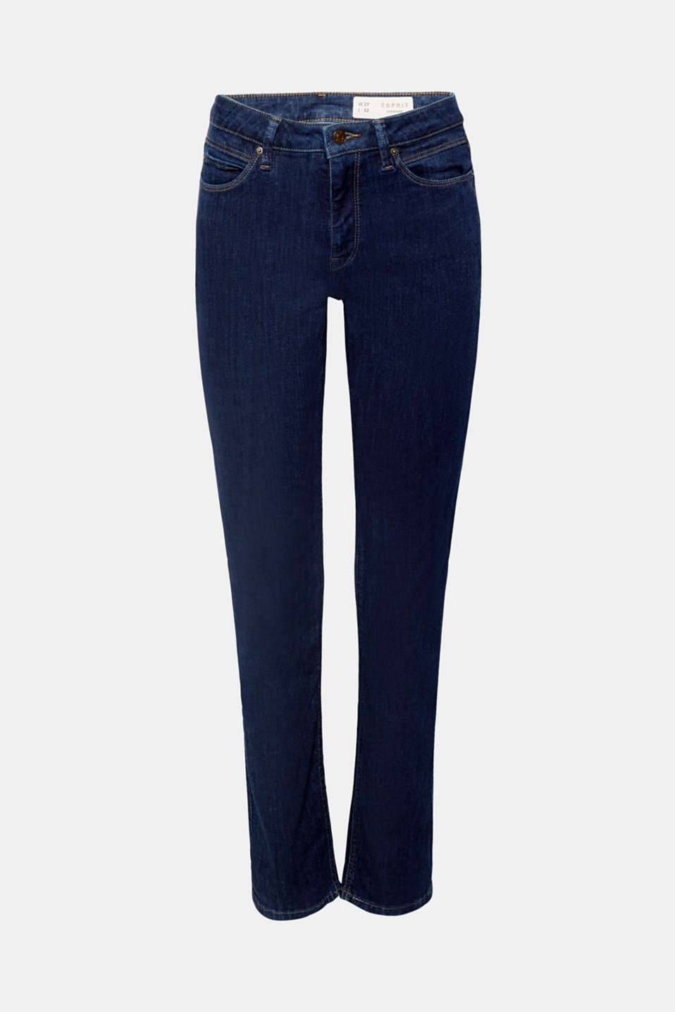 Dark denim, a high-rise waist, straight legs – it is no wonder that these stretch jeans are so flattering!