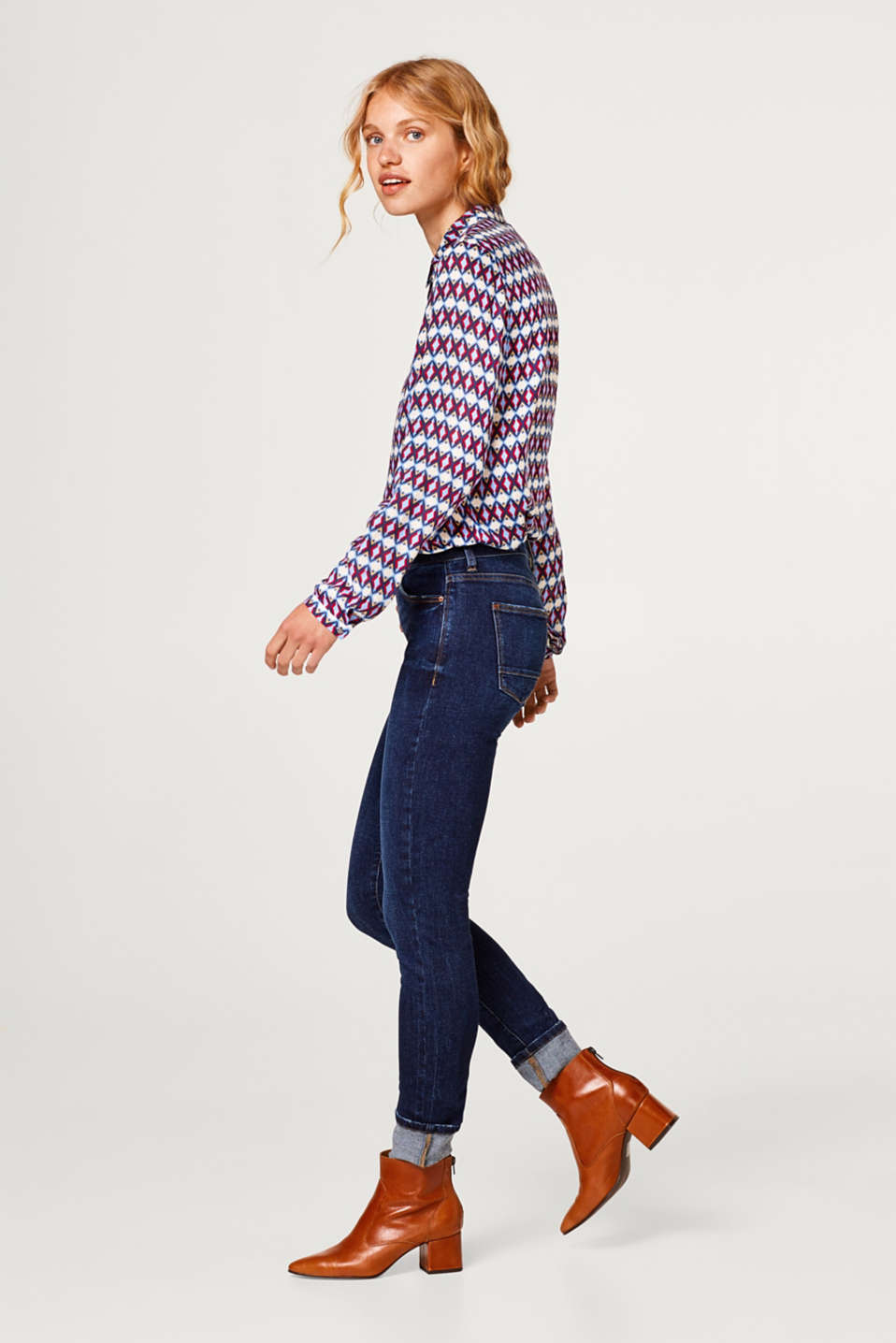 Esprit - Stretch jeans with a distinctive button placket