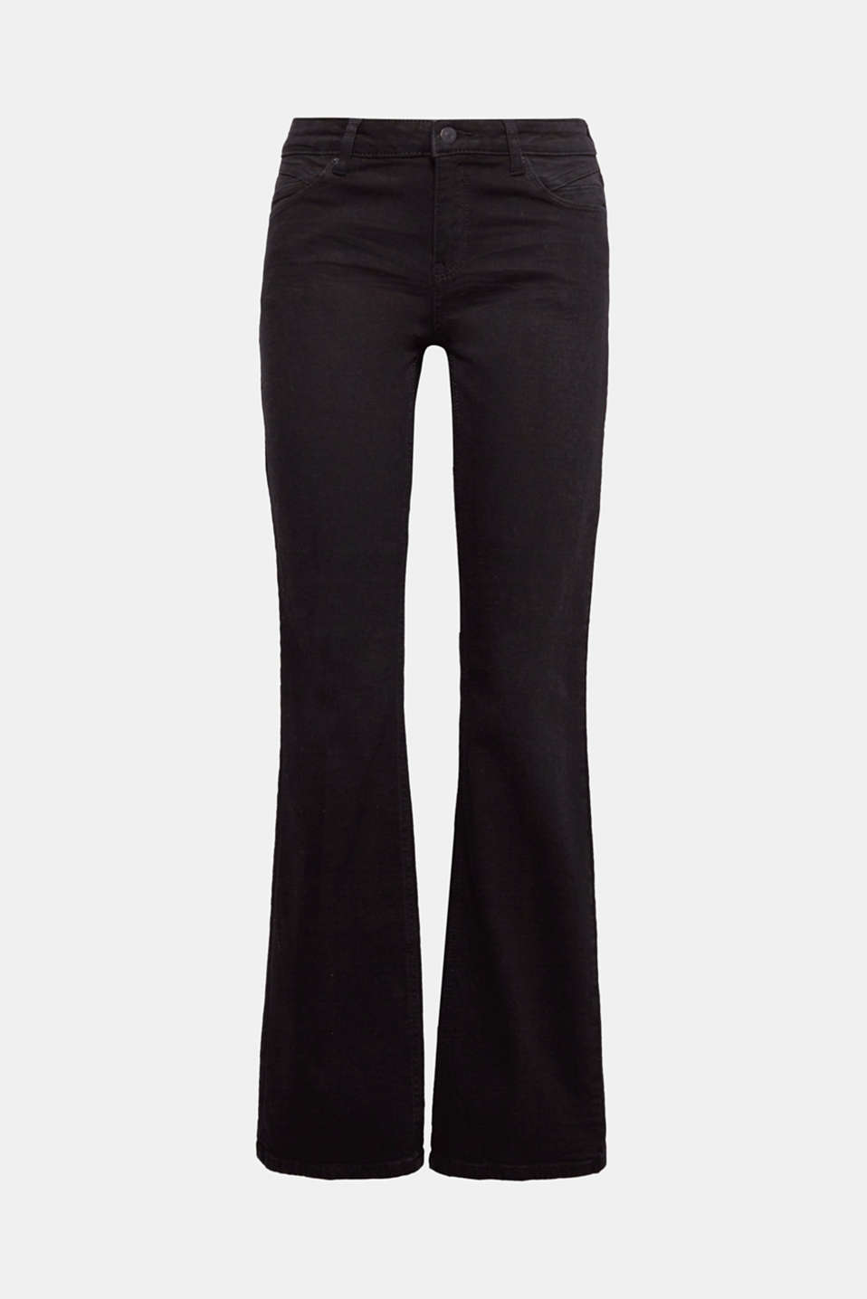 Create a sensational silhouette: jet black stretch jeans in a clean style, subtle bootcut