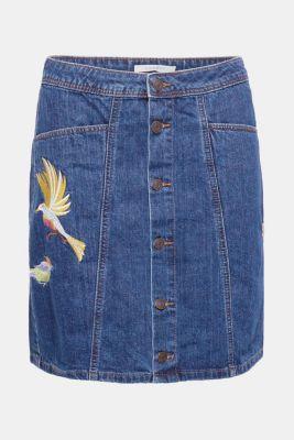 Esprit – Džínová sukně s knoflíkovou lištou a výšivkou v našem on ... 11f301daa3