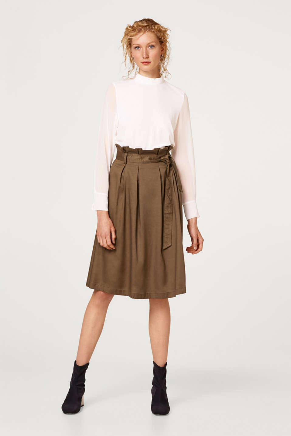 Esprit - Midi skirt with a paper bag waistband