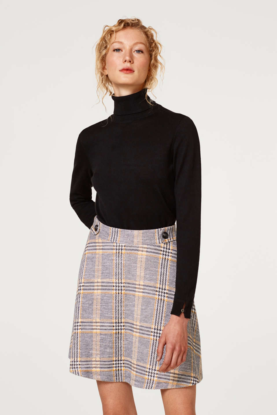 Esprit - Fashionable A-line skirt with a Prince of Wales check