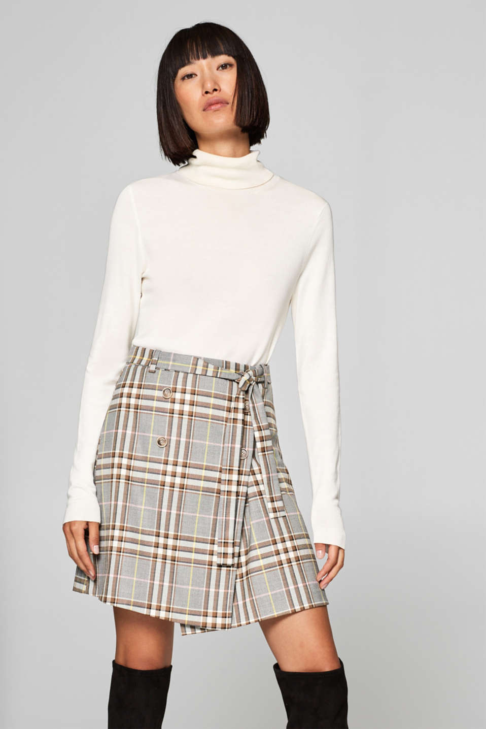 Esprit - Woven skirt with button-up wrap effect