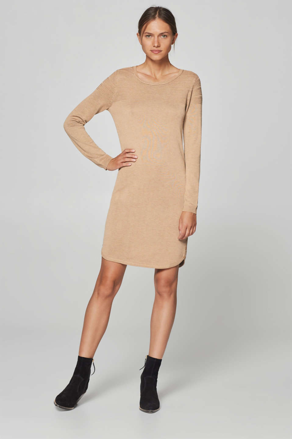 Esprit - Knit dress with textured stripes