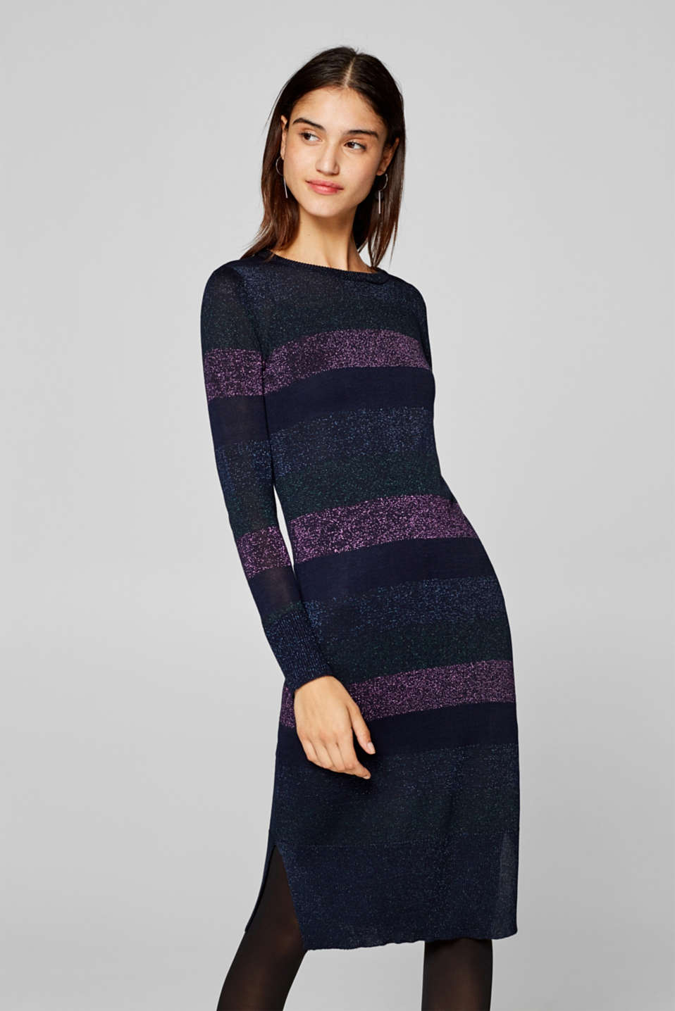 Esprit - Midi dress with shimmering block stripes