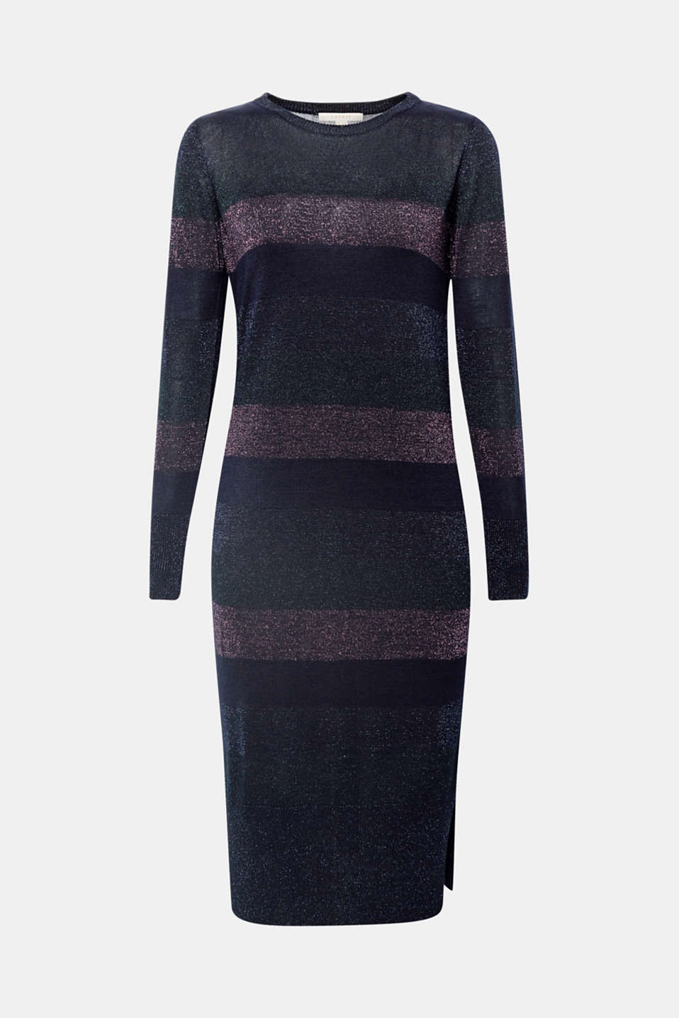 Glittering block stripes give this lightweight knitted dress its elegant look A jersey dress with spaghetti straps makes this piece opaque