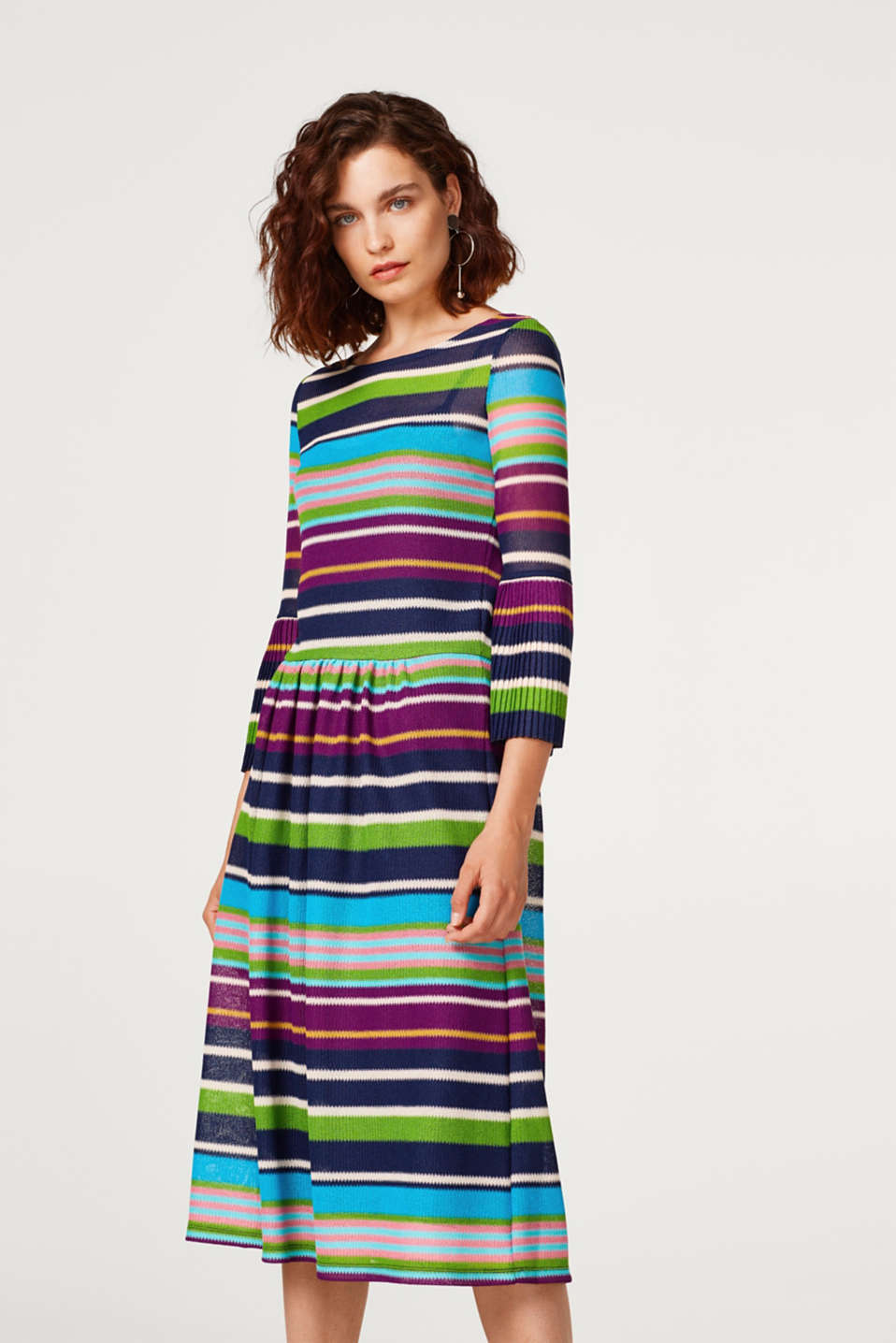 Esprit - Midi dress made of mesh with multi-coloured stripes