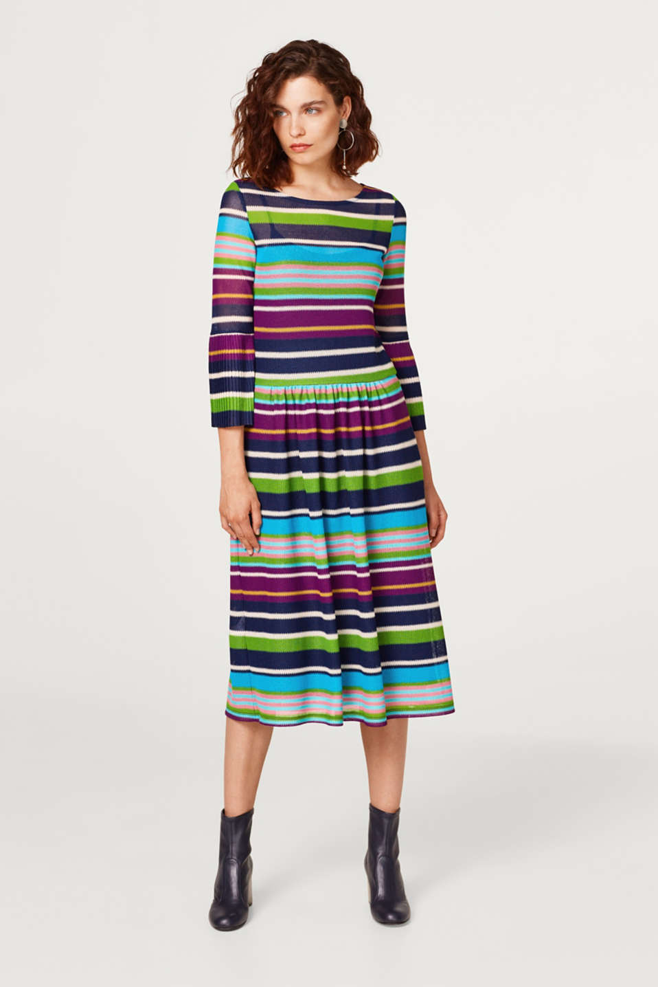 Midi dress made of mesh with multi-coloured stripes