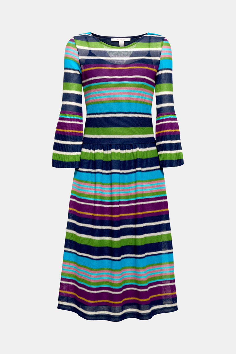 This midi dress made from lightweight mesh will impress you with its colourful striped pattern and feminine pleated details. The soft jersey slip provides exceptional comfort.