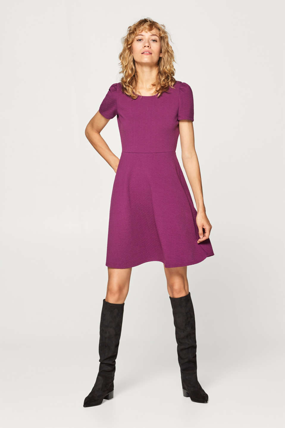 Esprit - Stretch jersey dress with a jacquard pattern