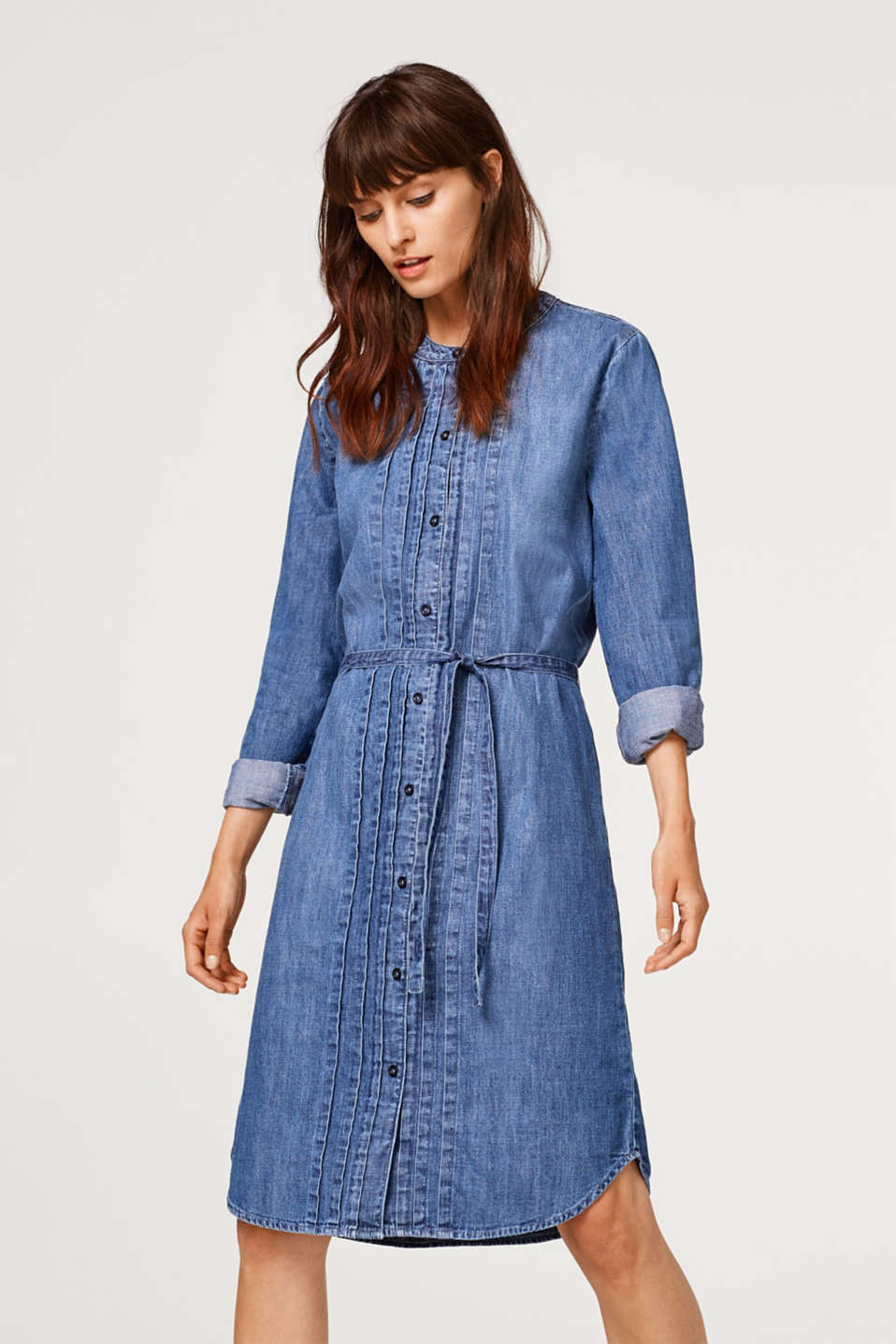 Esprit - Denim dress with pintucks, 100% cotton