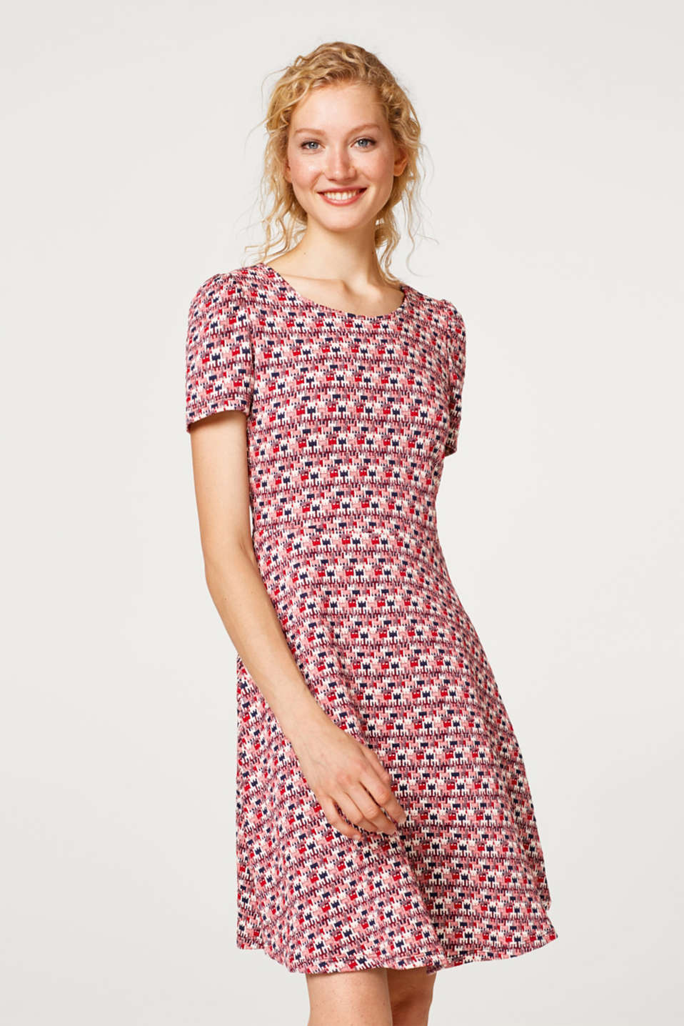Esprit - Flared jacquard dress with stretch