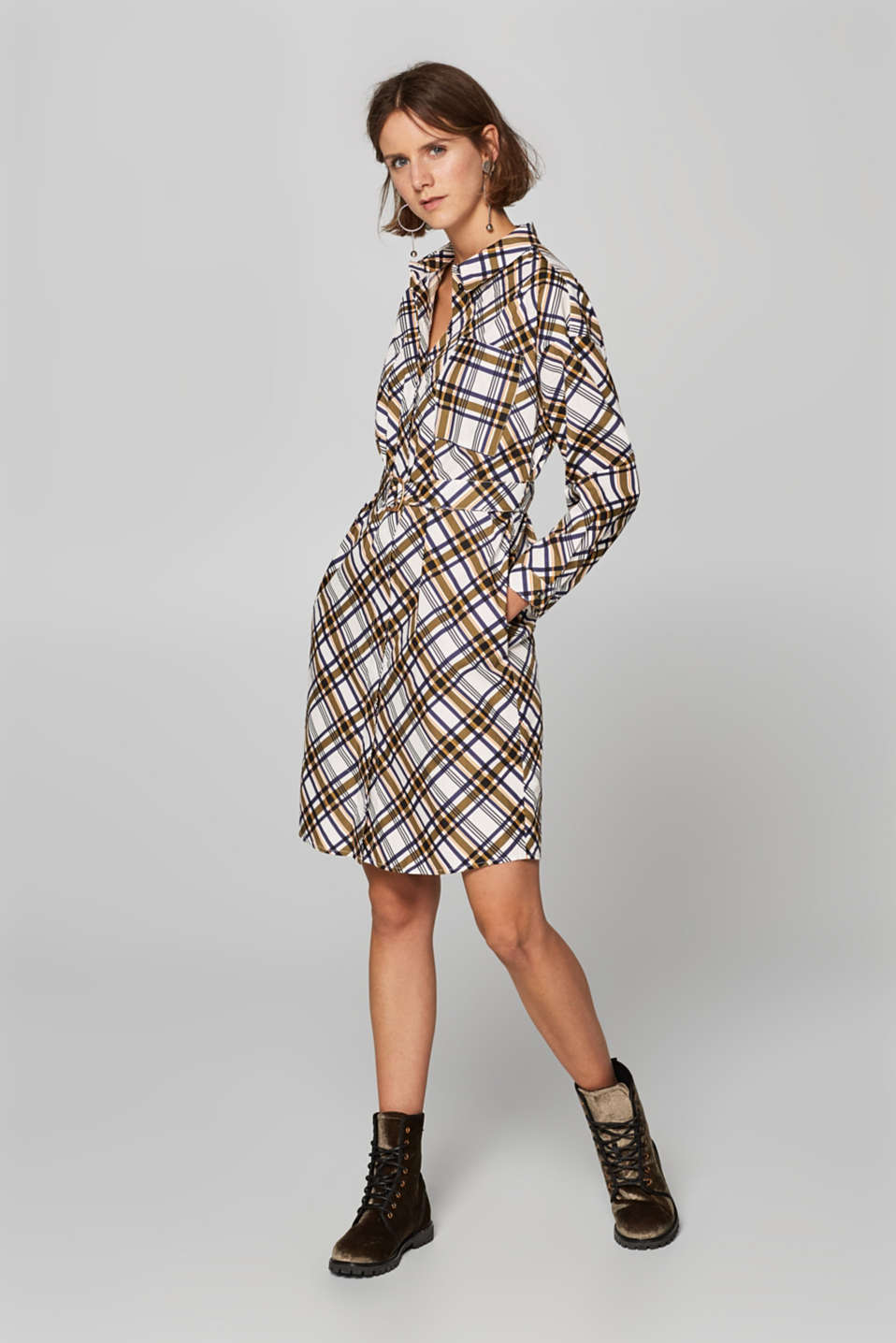 Esprit - Check shirt dress, 100% cotton