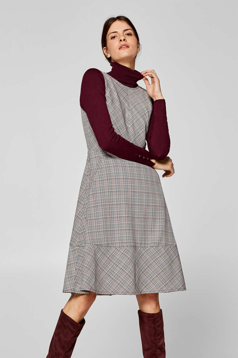 Esprit - Sheath dress with a Prince of Wales check