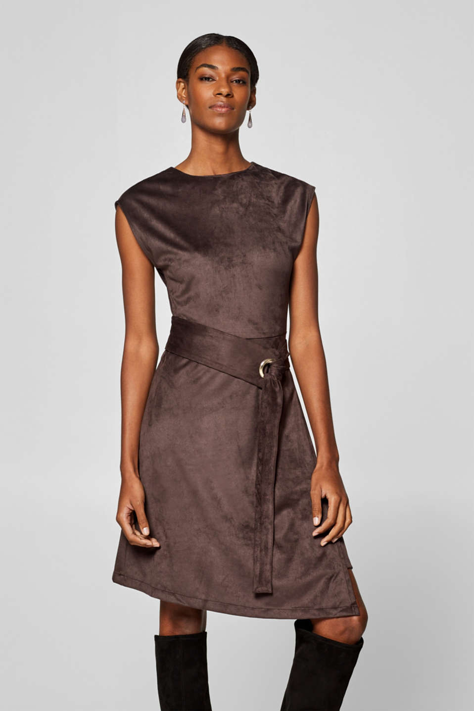 Esprit - Faux leather dress with a wrap-over effect