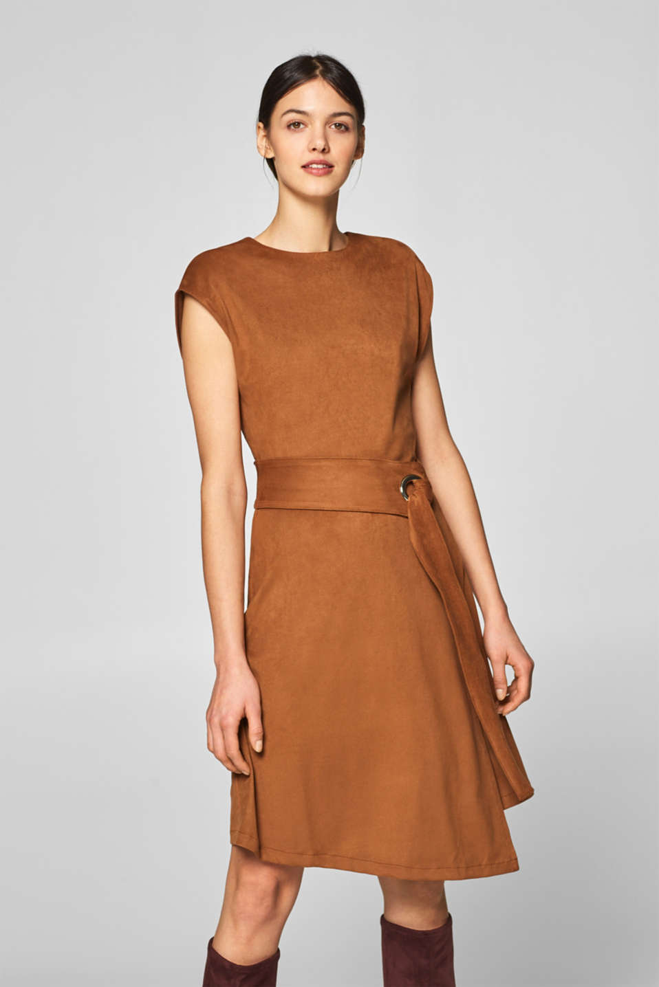 Esprit - Faux leather velour dress
