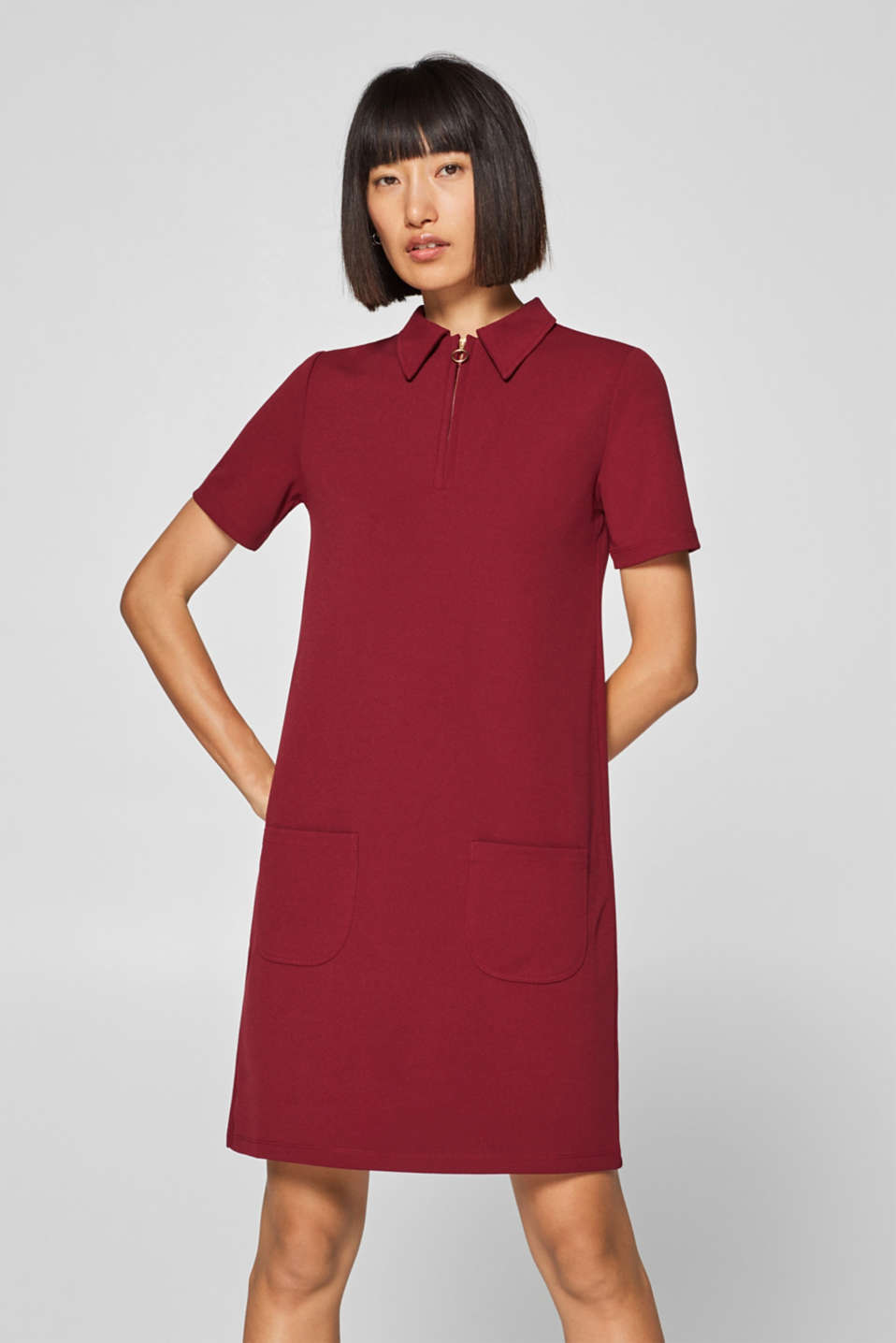 Esprit - Zip-up polo dress made of stretch jersey